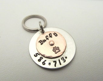 Silver and Copper Riveted Pet Tag or Keychain