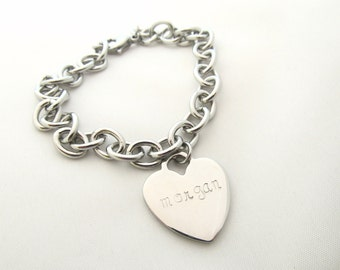 Personalized Necklace - Hand Stamped Designer Style Heart Necklace