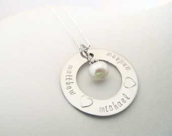 Personalized Silver Necklace - Large Engraved Hand Stamped Eternity Necklace