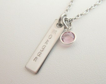 Hand Stamped Jewelry - Personalized Charm - Add-a-charm - Additional Silver Name Plate for Necklace
