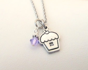 Personalized Hand Stamped Silver Initial Cupcake Necklace
