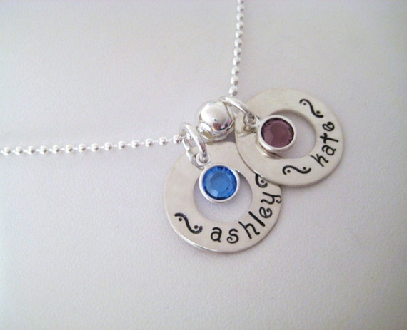 Personalized Sterling Silver 2 Washer Necklace
