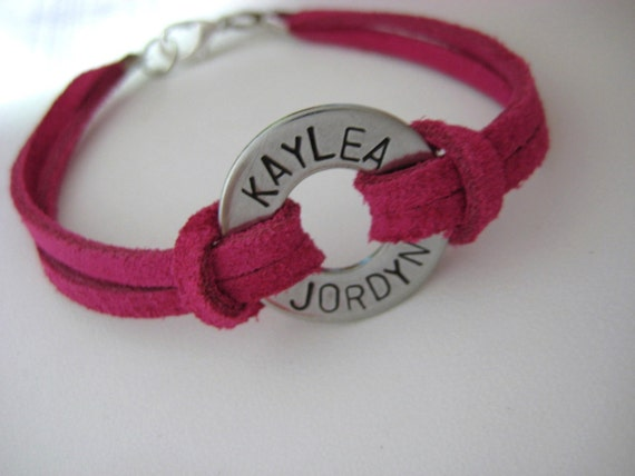 PERSONALIZED WASHER AND SUEDE BRACELET