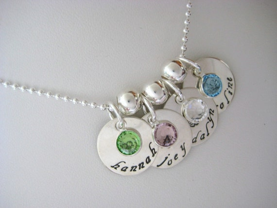 Hand Stamped Personalized 4 Disc Sterling Silver Necklace