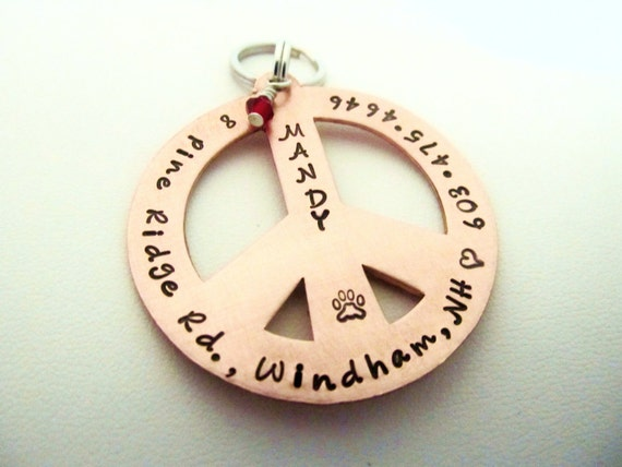 Copper Pet ID Tag or Keychain - Extra Large Peace Sign