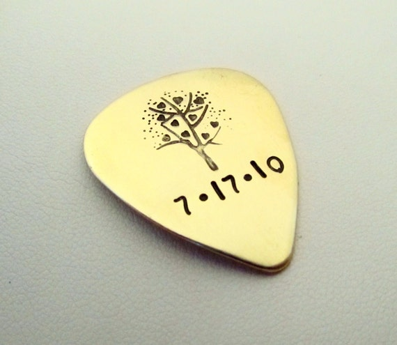 Personalized Guitar Pick - Custom Guitar Pick - Engraved Guitar Pick - Personalized Hand Stamped Brass Guitar Pick