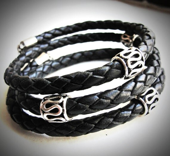Sterling Switchback Braided Leather Wrap bracelet