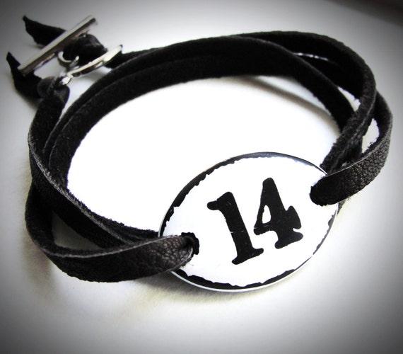 NEW - Enameled number (no.15 ONLY) Leather Wrap bracelet