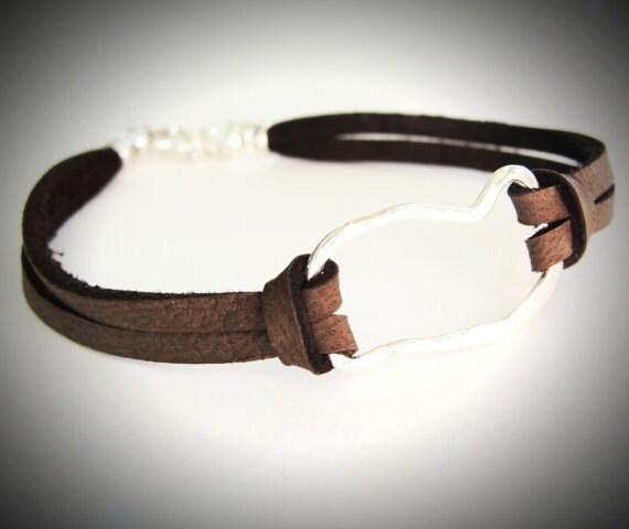 LAST ONE - Hammered Sterling Link on Leather bracelet
