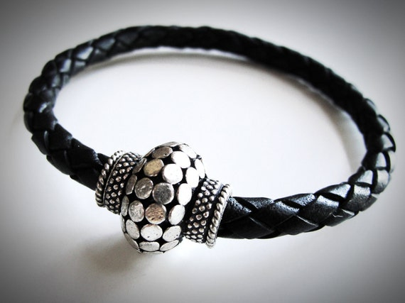 Silver Thai Style and Braided Leather bracelet