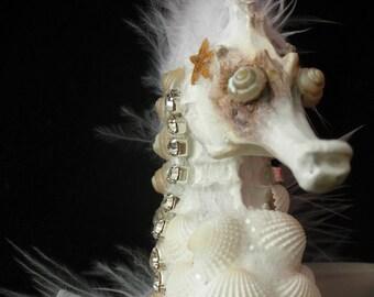 Beach Decor-Punk Pony--Seashell and Swarovski crystal  seahorse