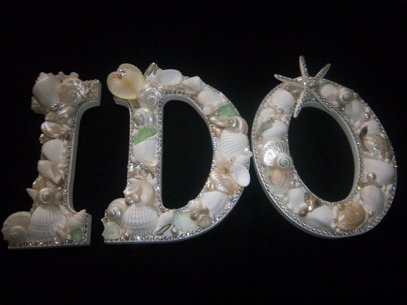 Beach Decor-I DO-Shell-Embellished Letters-Large
