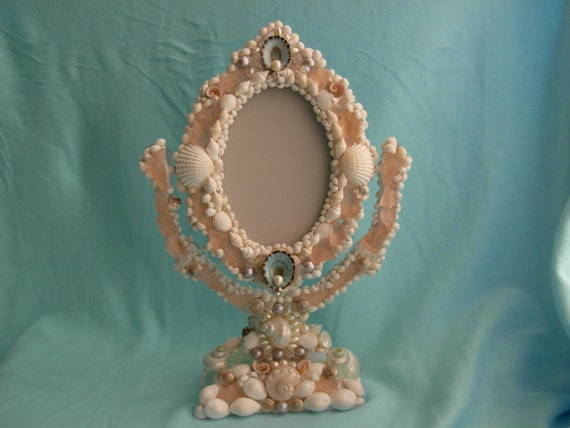 Beach Decor -seashell and beach glass  Mirror/picture frame