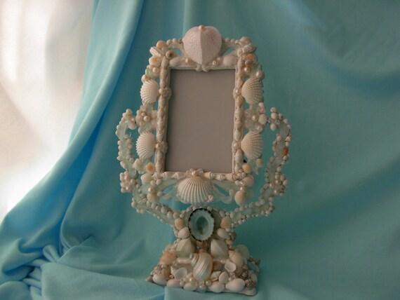 Beach Decor--Aqua Beach Glass and Seashell Mirror/picture frame
