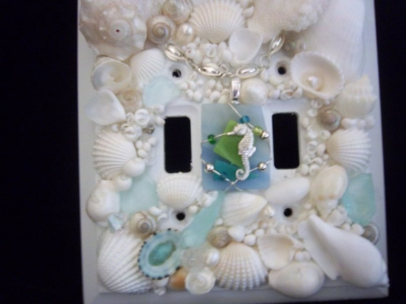 Beach Decor-seashell and beach glass double light switch cover