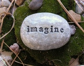 Word Stone...Polymer clay stone with engraved words...Imagine...Ready to ship...last one