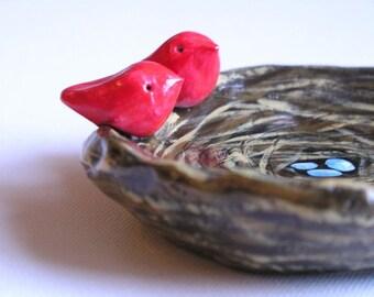 Birds nest art sculpture...Nest, eggs and bird....handmade polymer clay art bowl....Great gift