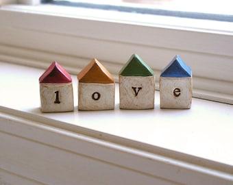 Little LOVE houses...Four handmade polymer clay houses ... Text Houses ... instant little neighborhood
