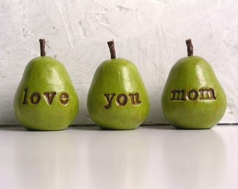 Gifts for mom / Christmas gift for her / 3 love you mom pears / gift for women / pears decor / gifts for mothers