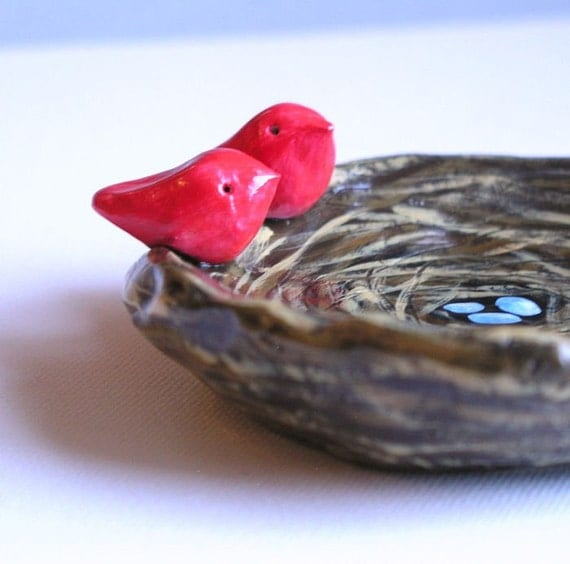 Birds nest art sculpture...Nest, eggs and bird....handmade polymer clay art bowl....Great gift