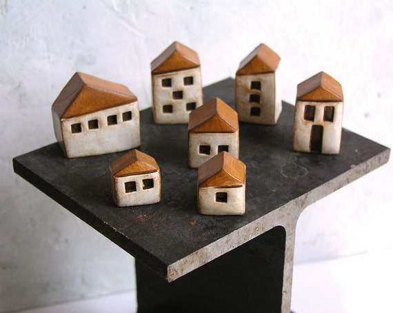 Handmade polymer clay houses, set of 7 ... instant little neighborhood...fairy houses...fairy gardens