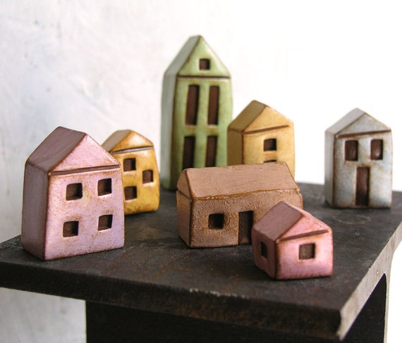 FOR EVY ... Handmade polymer clay houses, set of 7 ... instant little neighborhood...fairy houses...fairy gardens