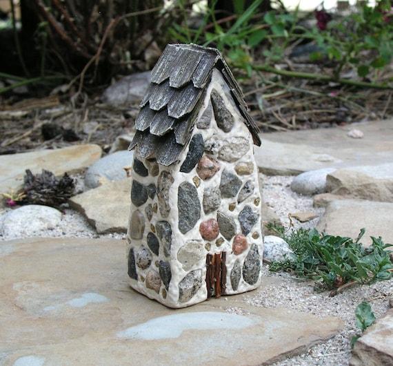 Handmade polymer clay fairy house...fairy houses...fairy gardens...Old Stone Cottage House