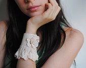 Cuff Crochet Pure Silk Elegant Victorian Pearls Wedding Handmade