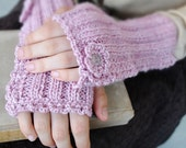 Whimsical Pink Cuffs hand Knit Wool Cotton Silk