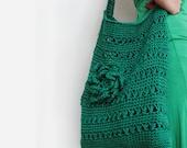 Green Hemp Bag - Mold  Mildew Resistant - Hand Crochet -  Eco Friendly