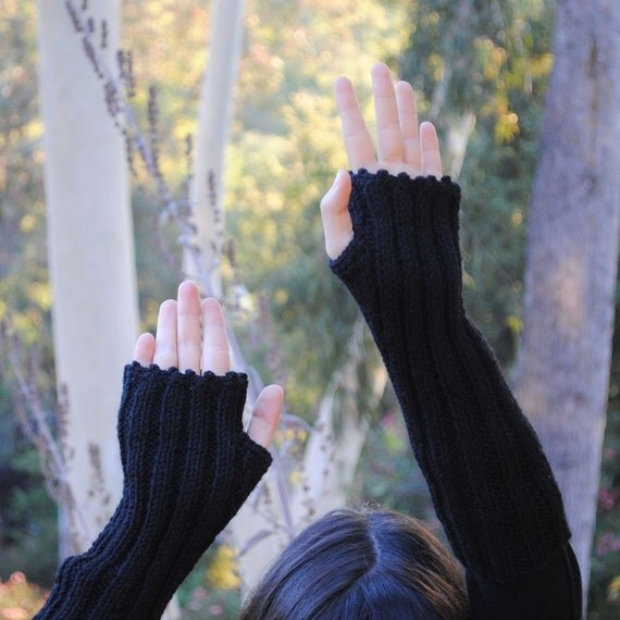 RESERVED  FOR PERRI Arm Warmers Black Night  Handknit  Alpaca Wool Fingerless Gloves Warm