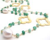 Chrysoprase, White Freshwater Pearls And Gold Vermeil Rosary Chain Necklace