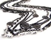 Gemstone Strand Necklace, Multi Strand, Black Garnet, Mystic Quartz, Five Strand, White, Gray, Black, Vintage Style