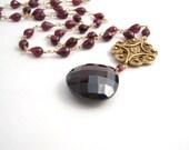 Garnet Necklace With Large Garnet Teardrop Pendant - Rosary Style - Gold - Burgundy - January Birthstone