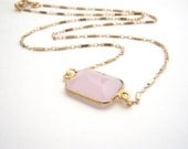 Rose Quartz Rectangle Pendant On 14k Gold Filled Chain Necklace - Light Pink - Modern - Minimalist - Dainty