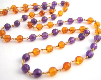 Amethyst And Citrine Strand Necklace, Rosary Style, Purple, Orange, Gold, Wire Wrapped, February Birthstone