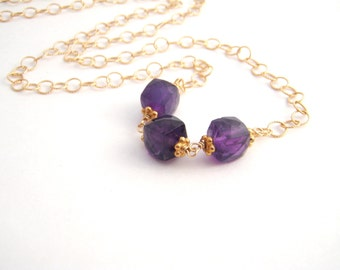Amethyst Cube Pendant Necklace, Modern Necklace, Gold, Purple, February Birthstone