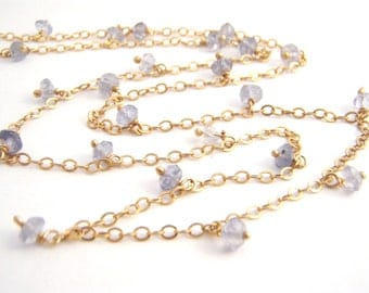 Iolite Strand Necklace, 14k Gold Filled Chain, Denim Blue, Dainty