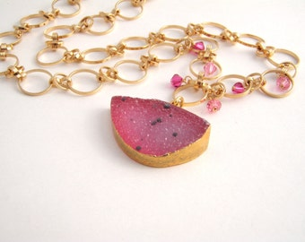 Raspberry Geode Druzy Quartz Pendant Necklace, Gold Chain, Pink, Crystals, Druzy Jewelry