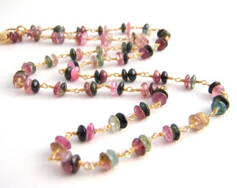 Rainbow Tourmaline Strand Necklace, Rosary Necklace, Double Stacked Beads, Gold, Green, Pink, White