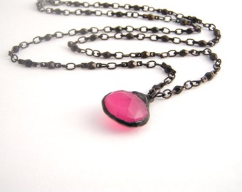 Hot Pink Chalcedony Chain Strand Necklace, Teardrop Pendant, Neon Pink, Black Nickle Chain