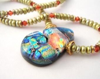 Apple Green Pearl Pendant Necklace Set, Dichroic Glass Pendant, Brass, Crystals, Orange, Blue, Black