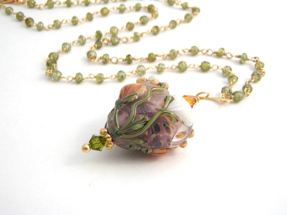 Olive Green Pendant Necklace, Rosary Style, Heart Pendant, Gold, Orange, White, Mauve, Wire Wrapped