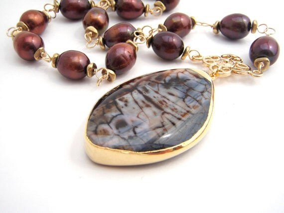 Free Shipping - Chocolate Brown Pearl Necklace With Agate Pendant - Large Pendant - Gold - Black