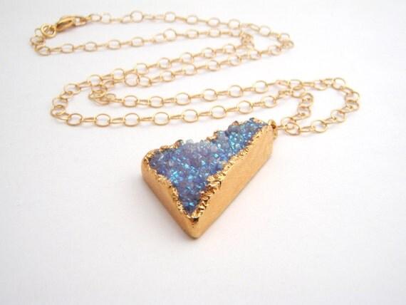 Blue Drusy Quartz Pendant On 14k Gold Filled Chain Necklace