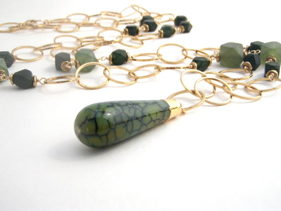 Jasper Teardrop Pendant And Jade Chain Necklace - 24k Gold Overlaid Chain - 20 Inches - Olive Green - Black