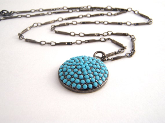 Pave Necklace - Turquoise - Round Pendant - Black Nickle Chain