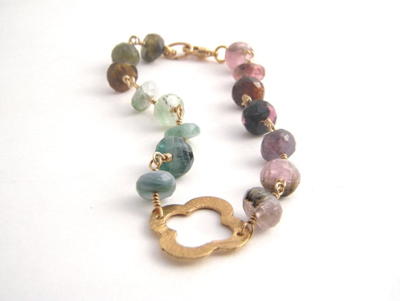Rainbow Tourmaline Rosary Bracelet - 14k Gold - Clover Link - Wire Wrapped - Green - Pink