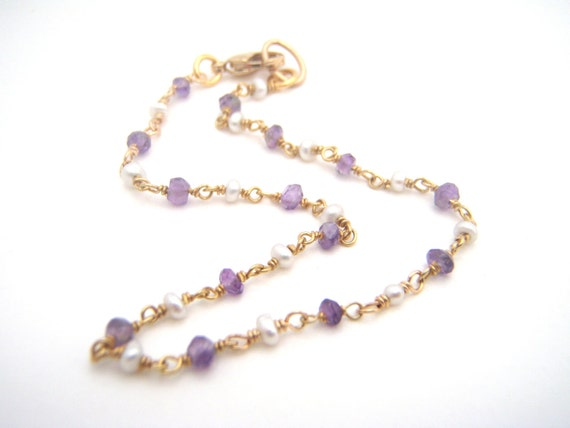 Amethyst And White Seed Pearl Rosary Bracelet - Lavender - White - 14k Gold - Dainty