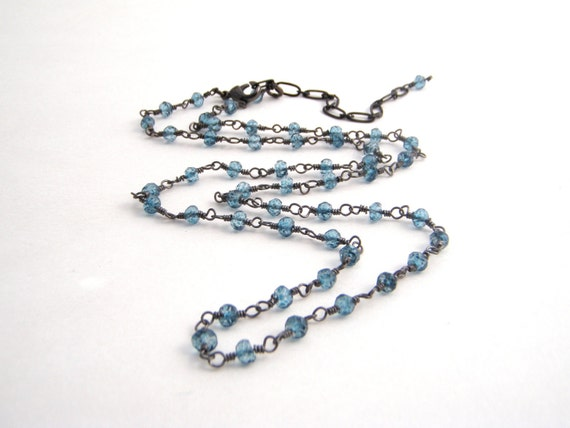 London Blue Topaz Quartz Strand Necklace, Rosary Style, Oxidized Sterling Silver, Ocean Blue, Black, Wire Wrapped